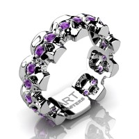 Mens Modern 14K White Gold Amethyst Skull Cluster Wedding Ring R1125-14KWGAM