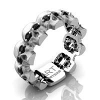 Mens Modern 14K White Gold Black Sapphire Skull Cluster Wedding Ring R1125-14KSWGBLS