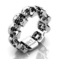 Mens Modern 14K White Gold Black Sapphire Skull Cluster Wedding Ring R1125-14KWGBLS