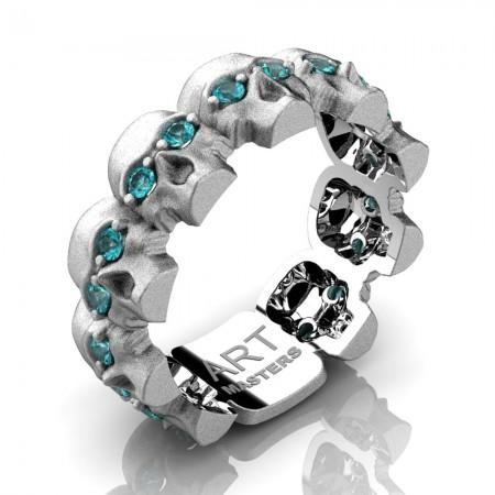 Mens-Modern-14K-White-Gold-Blue-Diamonnd-Skull-Cluster-Wedding-Ring-R1125-14KSWGBLD-P2