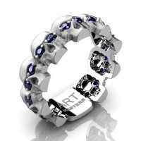 Mens Modern 14K White Gold Blue Sapphire Skull Cluster Wedding Ring R1125-14KSWGBS