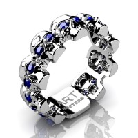 Mens Modern 14K White Gold Blue Sapphire Skull Cluster Wedding Ring R1125-14KWGBS