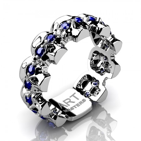 Mens-Modern-14K-White-Gold-Blue-Sapphire-Skull-Cluster-Wedding-Ring-R1125-14KWGBS-P