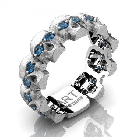 Mens-Modern-14K-White-Gold-Blue-Topaz-Skull-Cluster-Wedding-Ring-R1125-14KSWGBT-P2