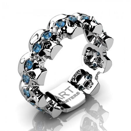 Mens-Modern-14K-White-Gold-Blue-Topaz-Skull-Cluster-Wedding-Ring-R1125-14KWGBT-P2