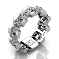 Mens Modern 14K White Gold Diamond Skull Cluster Wedding Ring R1125-14KSWGD