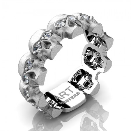 Mens-Modern-14K-White-Gold-Diamond-Skull-Cluster-Wedding-Ring-R1125-14KSWGD-P