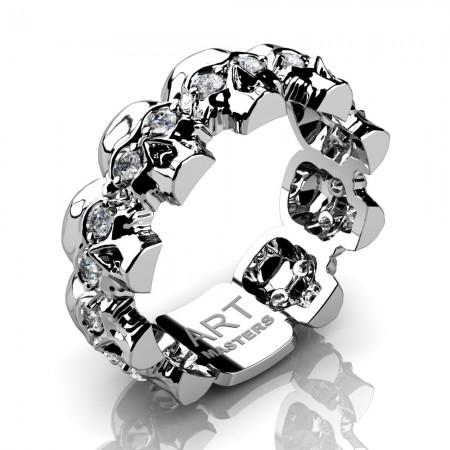 Mens-Modern-14K-White-Gold-Diamond-Skull-Cluster-Wedding-Ring-R1125-14KWGD-P