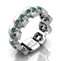 Mens Modern 14K White Gold Emerald Skull Cluster Wedding Ring R1125-14KSWGEM