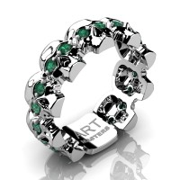 Mens Modern 14K White Gold Emerald Skull Cluster Wedding Ring R1125-14KWGEM