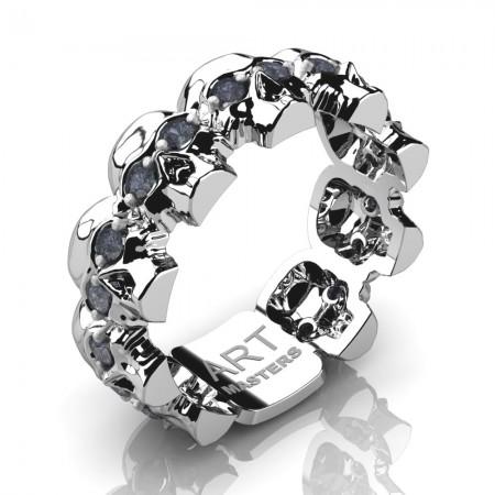 Mens-Modern-14K-White-Gold-Grey-Sapphire-Skull-Cluster-Wedding-Ring-R1125-14KWGGS-P