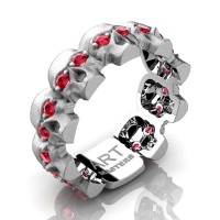 Mens Avant Garde 14K White Gold Ruby Skull Cluster Wedding Ring R1125-14KSWGR