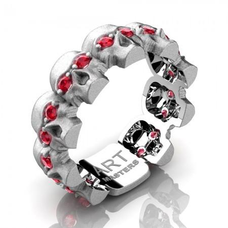 Mens-Modern-14K-White-Gold-Ruby-Skull-Cluster-Wedding-Ring-R1125-14KSWGR-P
