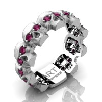 Mens Avant Garde 14K White Gold Ruby Skull Cluster Wedding Ring R1125-14KSWGRR