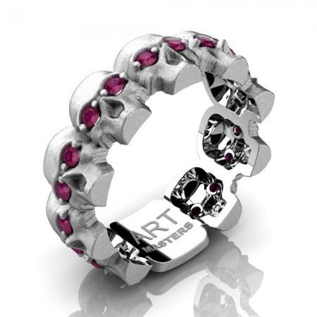 Mens-Modern-14K-White-Gold-Ruby-Skull-Cluster-Wedding-Ring-R1125-14KSWGRR-P