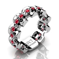 Mens Avant Garde 14K White Gold Ruby Skull Cluster Wedding Ring R1125-14KWGR