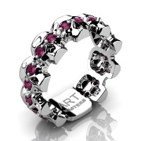 Mens Avant Garde 14K White Gold Ruby Skull Cluster Wedding Ring R1125-14KWGRR
