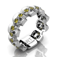 Mens Modern 14K White Gold Yellow Sapphire Skull Cluster Wedding Ring R1125-14KSWGYS
