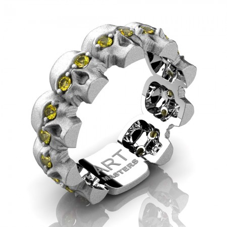 Mens-Modern-14K-White-Gold-Yellow-Sapphire-Skull-Cluster-Wedding-Ring-R1125-14KSWGYS-P2
