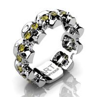 Mens Modern 14K White Gold Yellow Sapphire Skull Cluster Wedding Ring R1125-14KWGYS