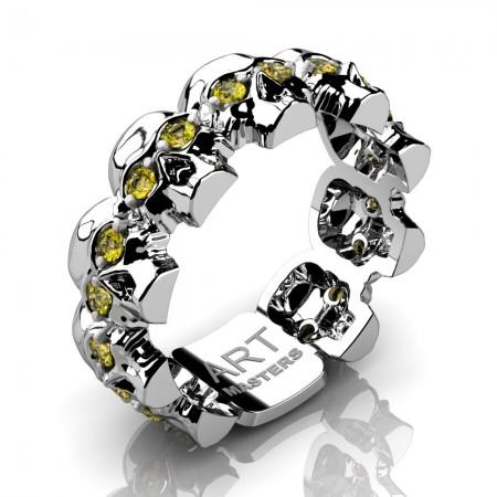 Mens-Modern-14K-White-Gold-Yellow-Sapphire-Skull-Cluster-Wedding-Ring-R1125-14KWGYS-P2