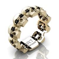 Mens Modern 14K Yellow Gold Black Sapphire Skull Cluster Wedding Ring R1125-14KSYGBLS