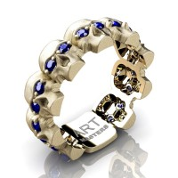 Mens Modern 14K Yellow Gold Blue Sapphire Skull Cluster Wedding Ring R1125-14KSYGBS
