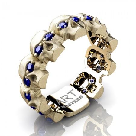 Mens-Modern-14K-Yellow-Gold-Blue-Sapphire-Skull-Cluster-Wedding-Ring-R1125-14KSYGBS-P