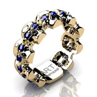 Mens Modern 14K Yellow Gold Blue Sapphire Skull Cluster Wedding Ring R1125-14KYGBS