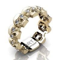 Mens Modern 14K Yellow Gold Diamond Skull Cluster Wedding Ring R1125-14KSYGD