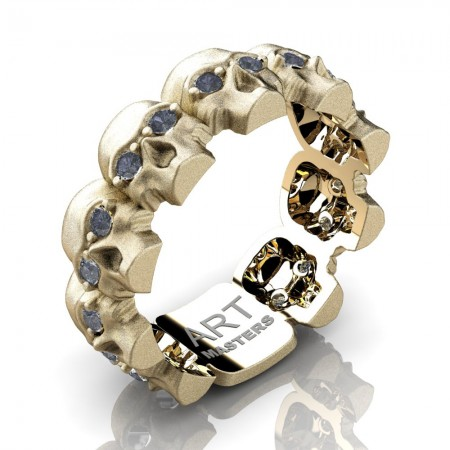 Mens-Modern-14K-Yellow-Gold-Grey-Sapphire-Skull-Cluster-Wedding-Ring-R1125-14KSYGGS-P