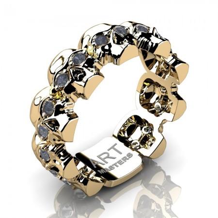 Mens-Modern-14K-Yellow-Gold-Grey-Sapphire-Skull-Cluster-Wedding-Ring-R1125-14KSYGGS-P2