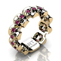 Mens Avant Garde 14K Yellow Gold Ruby Skull Cluster Wedding Ring R1125-14KYGRR