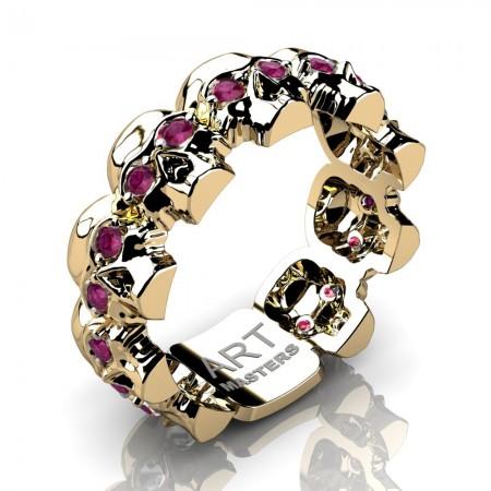 Mens-Modern-14K-Yellow-Gold-Rose-Ruby-Skull-Cluster-Wedding-Band-Ring-R1125-14KYGRR-P