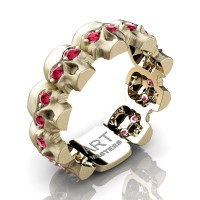 Mens Avant Garde 14K Yellow Gold Ruby Skull Cluster Wedding Ring R1125-14KSYGR