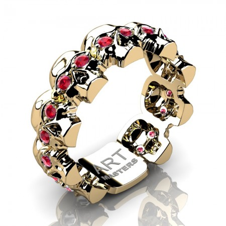 Mens-Modern-14K-Yellow-Gold-Ruby-Skull-Cluster-Wedding-Band-Ring-R1125-14KYGR-P