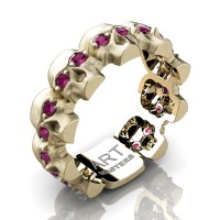 Mens Avant Garde 14K Yellow Gold Ruby Skull Cluster Wedding Ring R1125-14KSYGRR