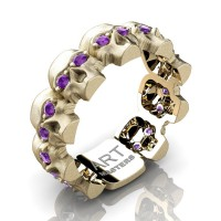 Womens Avant Garde 14K Yellow Gold Amethyst Skull Cluster Wedding Ring R1125F-14KSYGAM