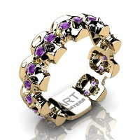 Womens Avant Garde 14K Yellow Gold Amethyst Skull Cluster Wedding Ring R1125F-14KYGAM