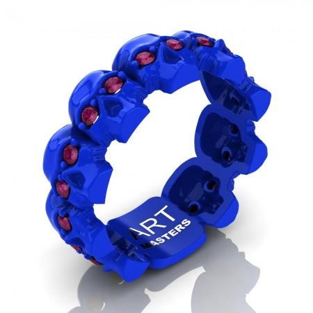 Womens-Modern-14K-Blue-Gold-Ruby-Skull-Cluster-Wedding-Ring-R1125-14KBLGRR-P