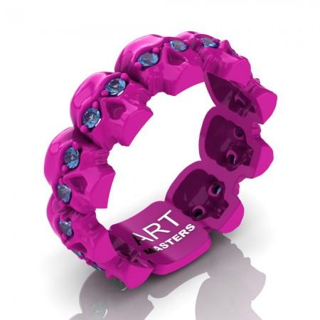 Womens-Modern-14K-Fuchsia-Gold-Blue-Topaz-Skull-Cluster-Wedding-Ring-R1125-14KFGBT-P
