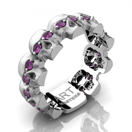 Womens-Modern-14K-White-Gold-Light-Pink-Sapphire-Skull-Cluster-Wedding-Ring-R1125F-14KSWGLPS-P2