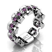 Womens Modern 14K White Gold Light Pink Sapphire Skull Cluster Wedding Ring R1125F-14KWGLPS