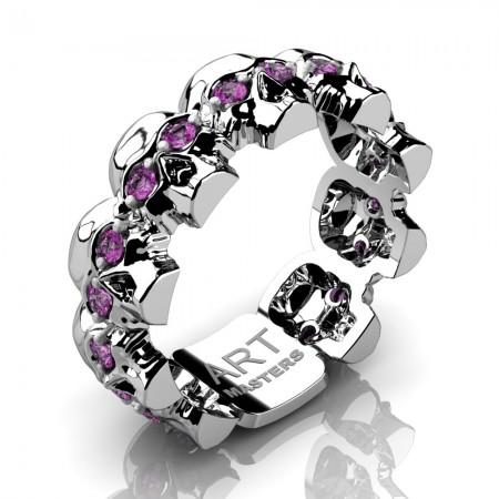 Womens-Modern-14K-White-Gold-Light-Pink-Sapphire-Skull-Cluster-Wedding-Ring-R1125F-14KWGLPS-P2