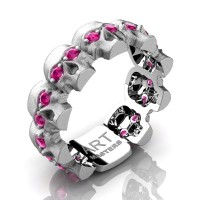 Womens Modern 14K White Gold Pink Sapphire Skull Cluster Wedding Ring R1125F-14KSWGPS