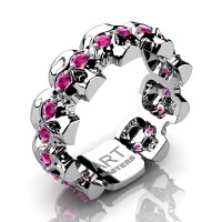 Womens Modern 14K White Gold Pink Sapphire Skull Cluster Wedding Ring R1125F-14KWGPS