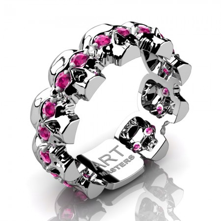 Womens-Modern-14K-White-Gold-Pink-Sapphire-Skull-Cluster-Wedding-Ring-R1125-14KWGPS-P