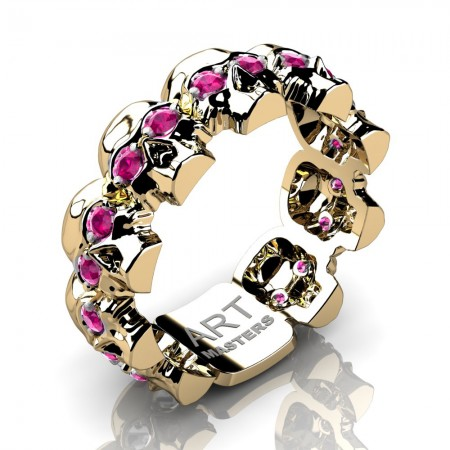 Womens-Modern-14KYellow-Gold-Pink-Sapphire-Skull-Cluster-Wedding-Ring-R1125-14KYGPS-P