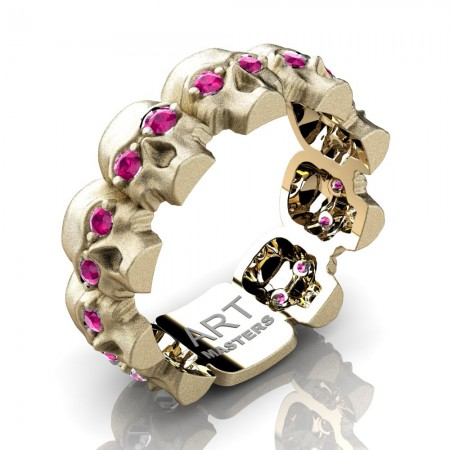 Womens-Modern-14KYellow-Gold-Pink-Sapphire-Skull-Cluster-Wedding-Ring-R1125F-14KSYGPS-P