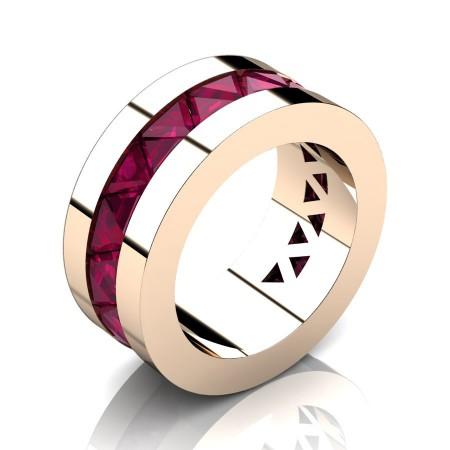 Julius-Caesar-Mens-Modern-14K-Rose-Gold-Triangle-Rose-Ruby-Channel-Cluster-Wedding-Band-R777-14KRGRR